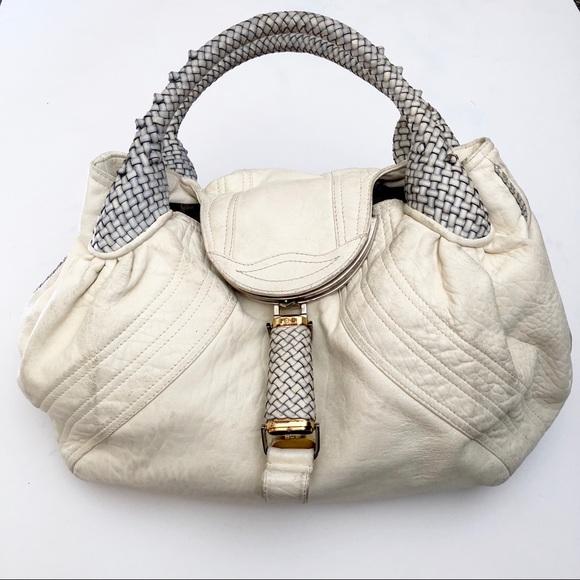 f5be3dd8f37e Fendi Handbags - Fendi White Blue Nappa Leather Spy Bag
